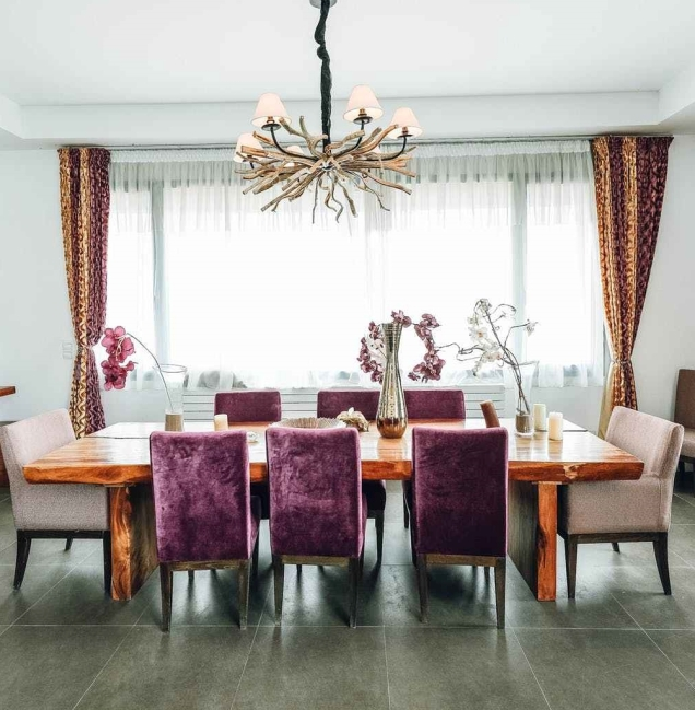 brown wooden dining set in dining room